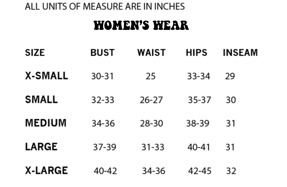 Women's T-shirt / Tops size chart